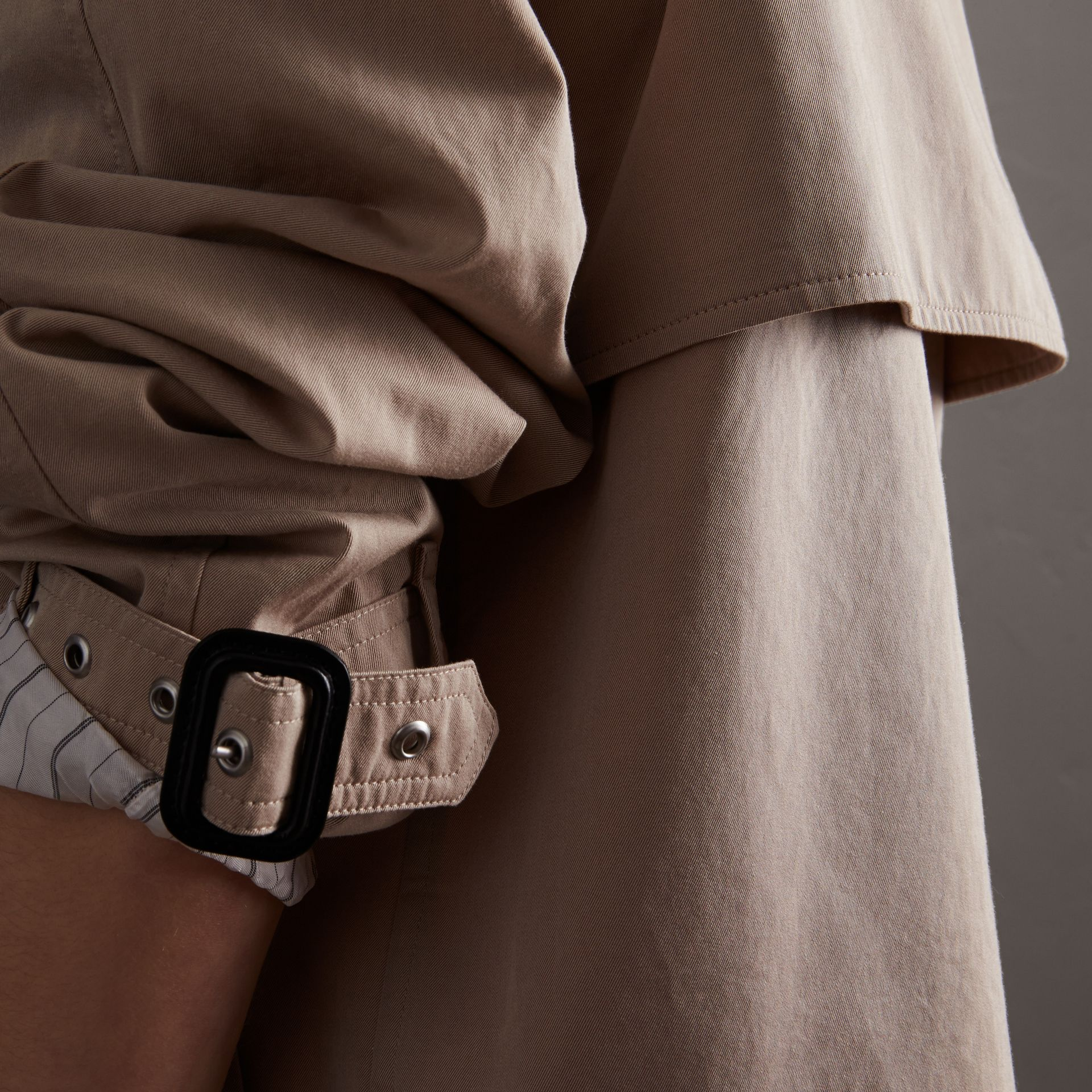 Unisex Tropical Gabardine Trench Jacket in Light Taupe - Women | Burberry - gallery image 6