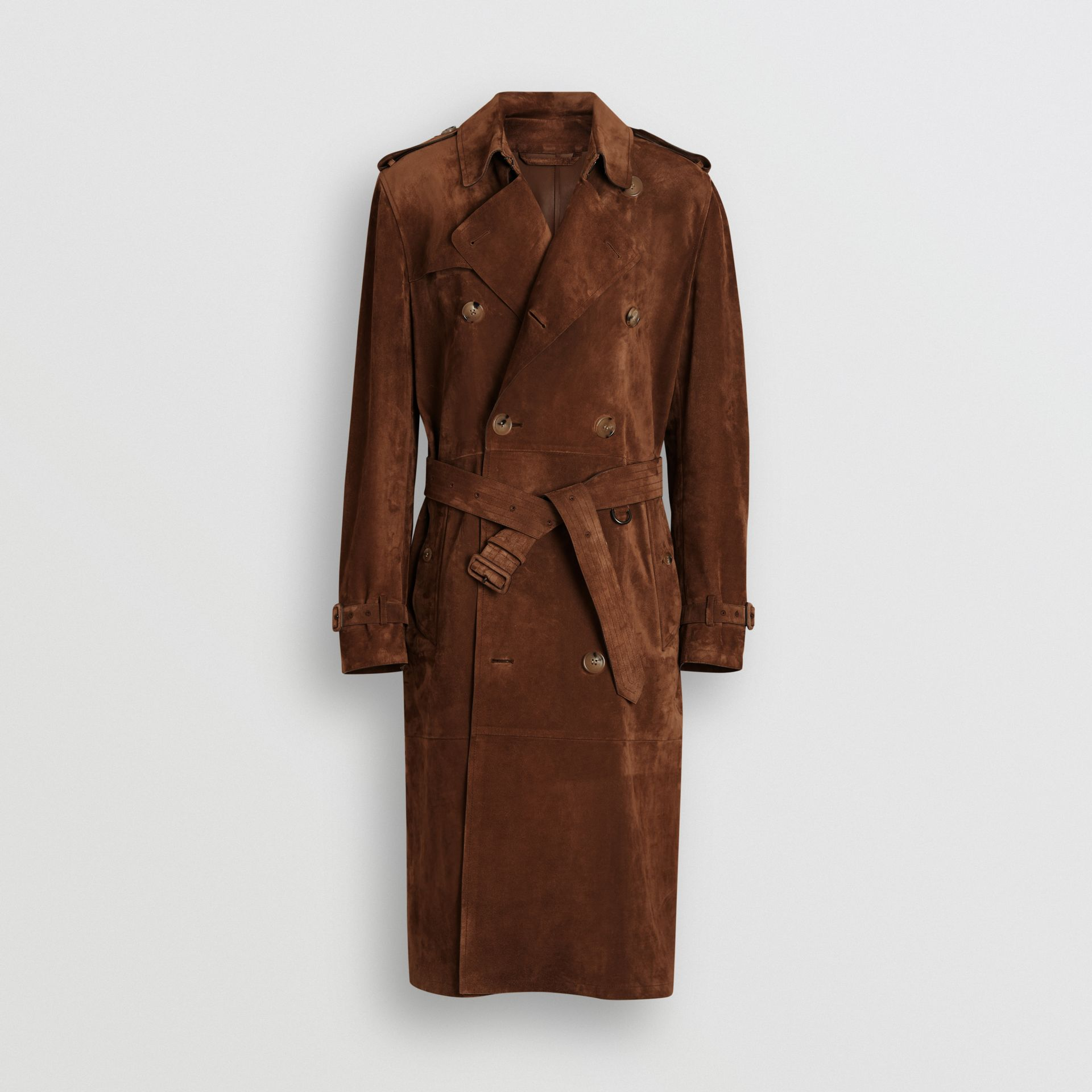Suede Trench Coat in Sepia Brown - Men | Burberry United Kingdom - gallery image 3