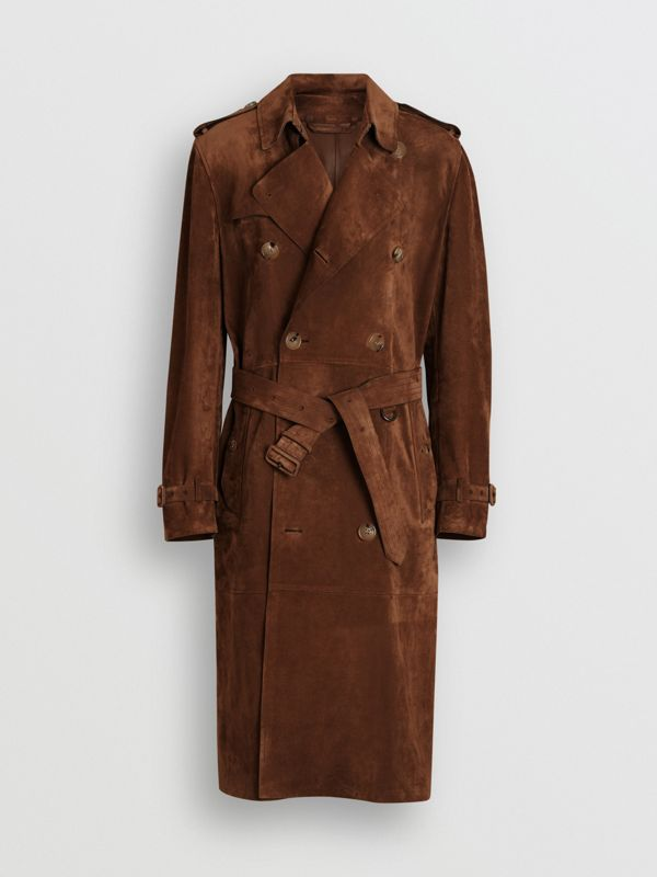 Suede Trench Coat in Sepia Brown - Men | Burberry - cell image 3