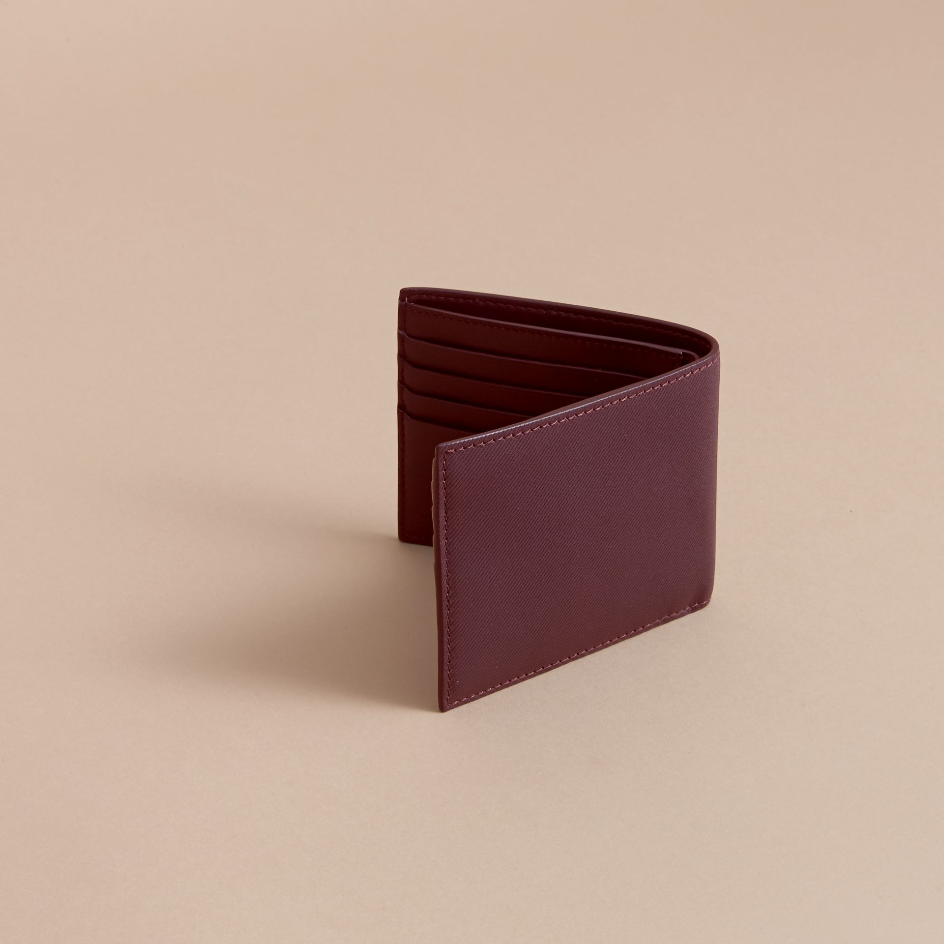 Trench Leather International Bifold Wallet in Wine - Men | Burberry Australia - gallery image 4