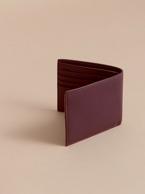 Trench Leather International Bifold Wallet in Wine - Men | Burberry Australia - cell image 3