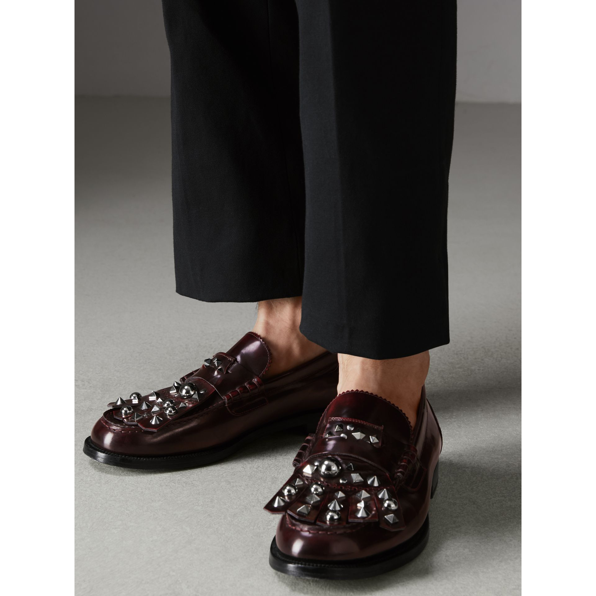 Stud Detail Kiltie Fringe Leather Loafers in Bordeaux - Men | Burberry - gallery image 2