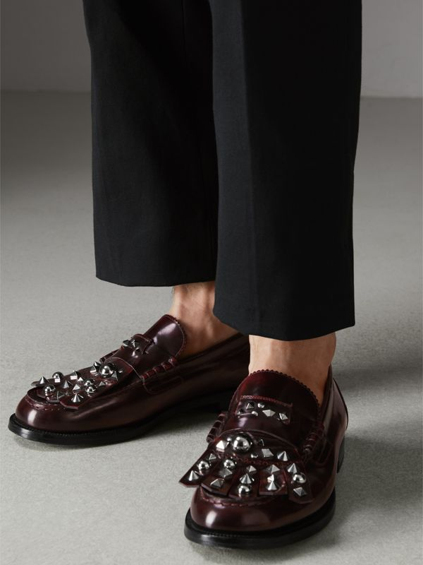 Stud Detail Kiltie Fringe Leather Loafers in Bordeaux - Men | Burberry - cell image 2
