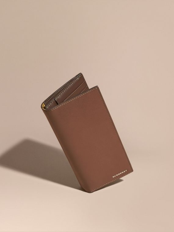 Smooth Leather Continental Wallet Sepia Brown