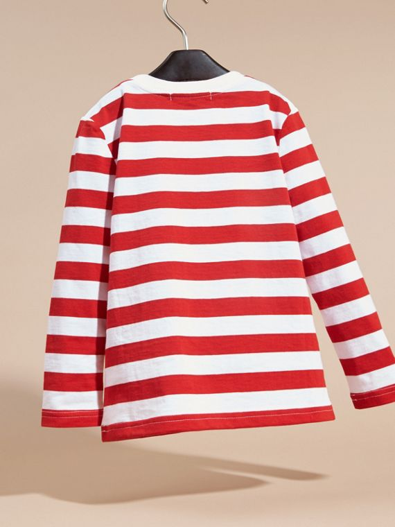 Long-sleeved Use Your Head Graphic Cotton T-shirt in Parade Red - cell image 3