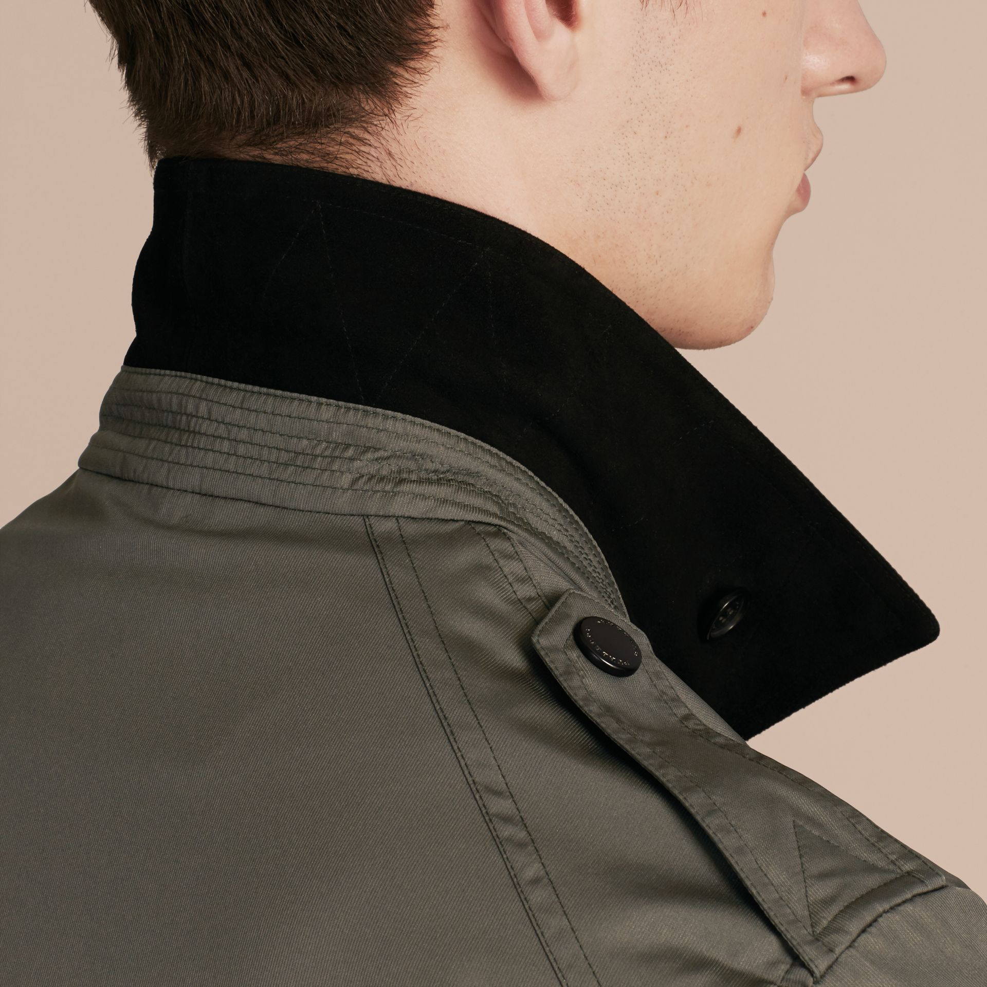 Green black Technical Silk Blend Field Jacket - gallery image 6