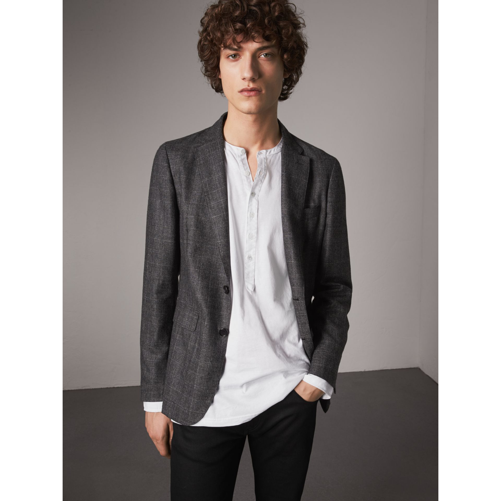 Soho Fit Check Wool Flannel Tailored Jacket in Dark Grey Melange - Men | Burberry - gallery image 6