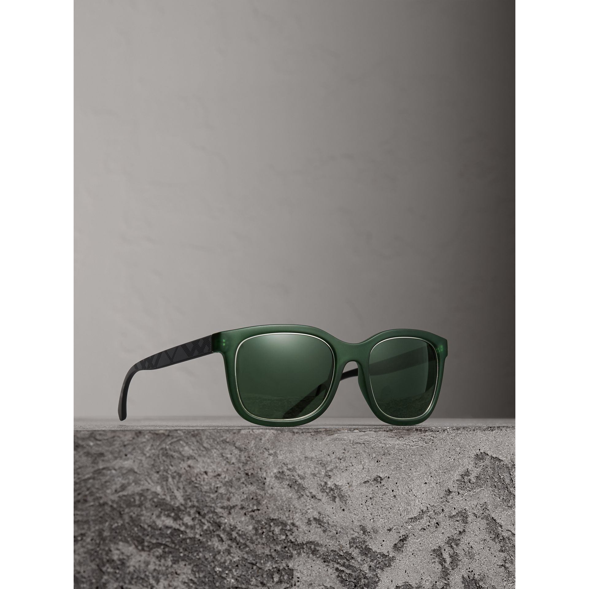 Embossed Check Detail Square Frame Sunglasses in Smokey Green - Men | Burberry - gallery image 1