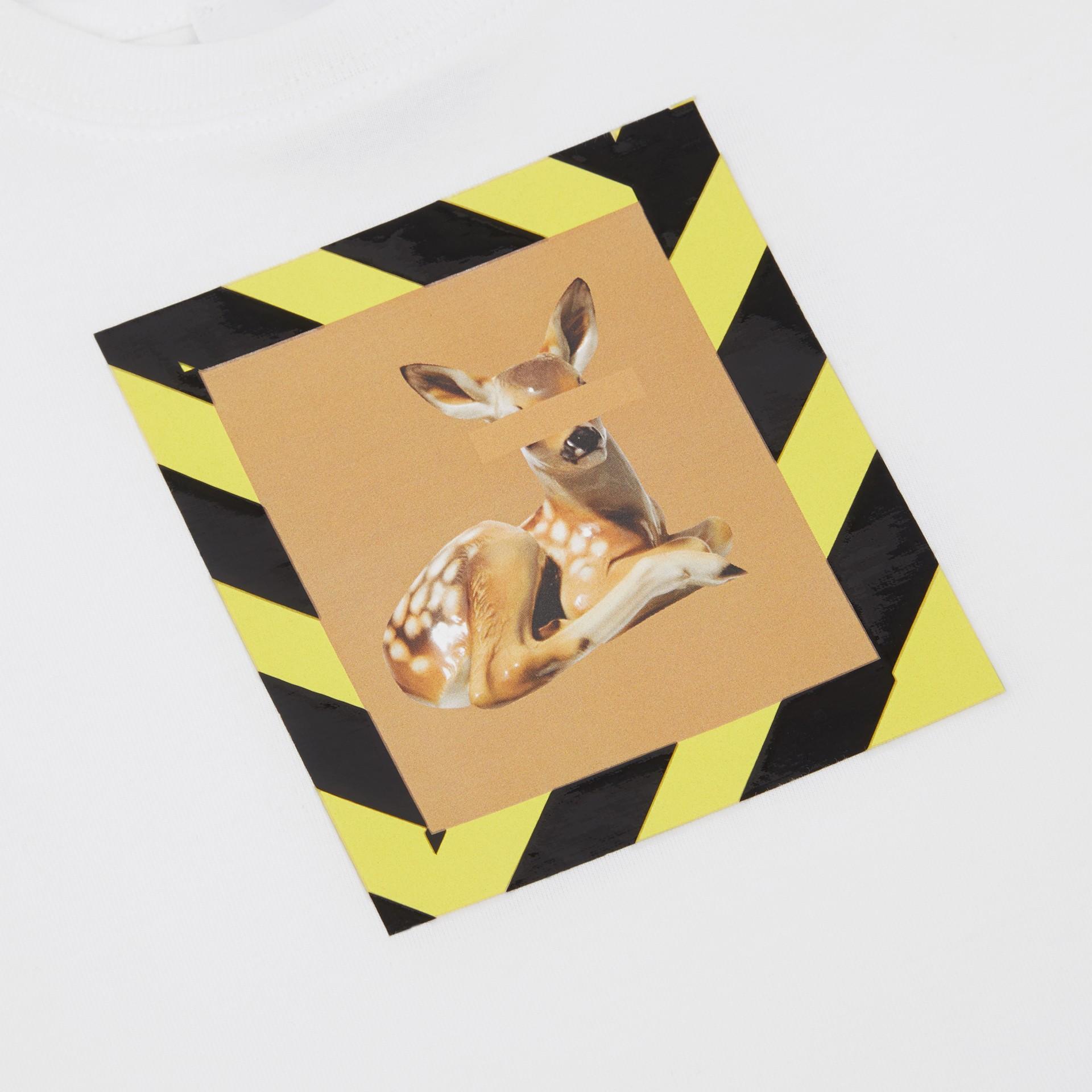 Deer Print Cotton T-shirt in White - Children | Burberry United Kingdom - gallery image 1