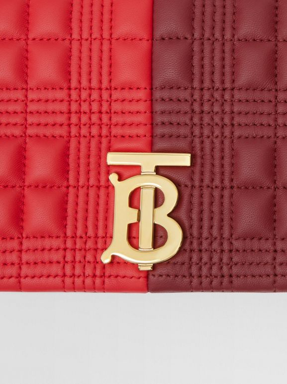Small Quilted Colour Block Lambskin Lola Bag in Bright Red/burgundy - Women | Burberry - cell image 1