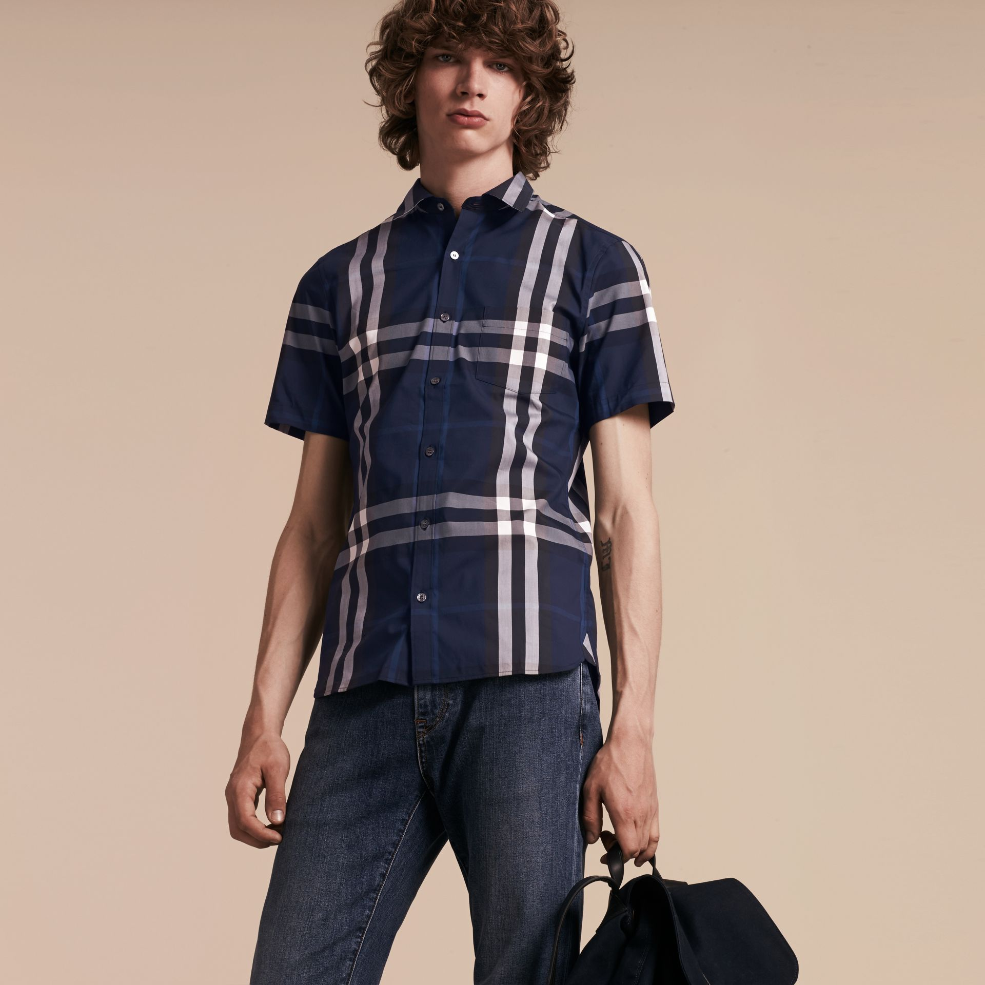 Short-sleeved Check Stretch Cotton Shirt in Indigo Blue - gallery image 6