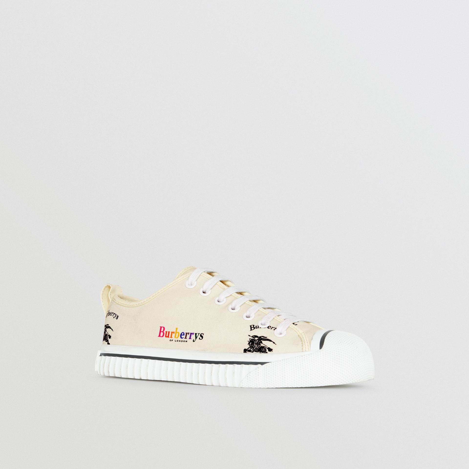 Archive Logo Cotton Sneakers in Off White - Women | Burberry - gallery image 6