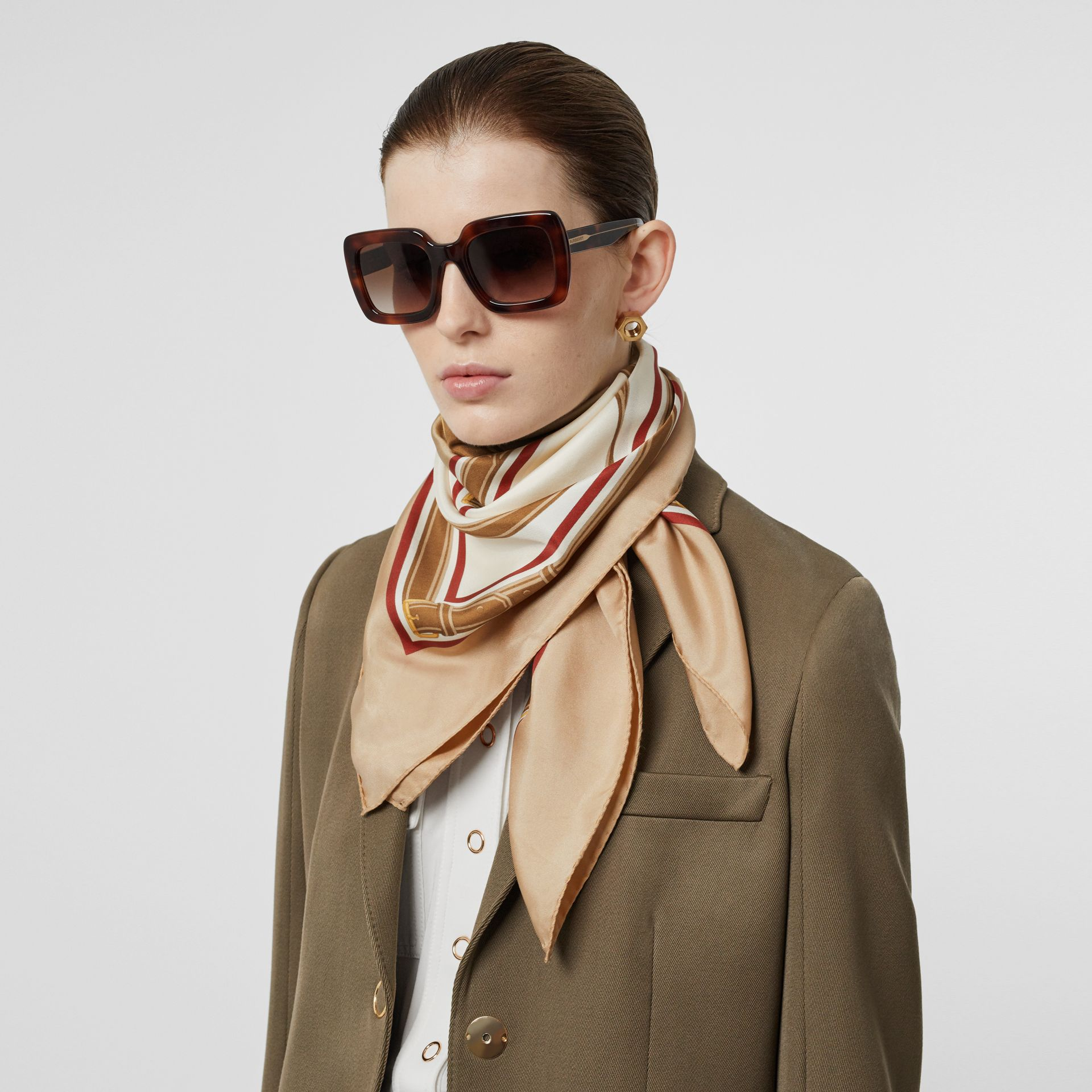 Archive Scarf Print Silk Square Scarf in Pale Camel | Burberry - gallery image 7