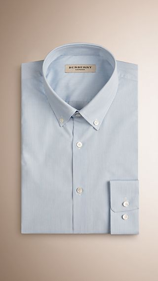 Slim Fit Button-down Collar Striped Cotton Poplin Shirt