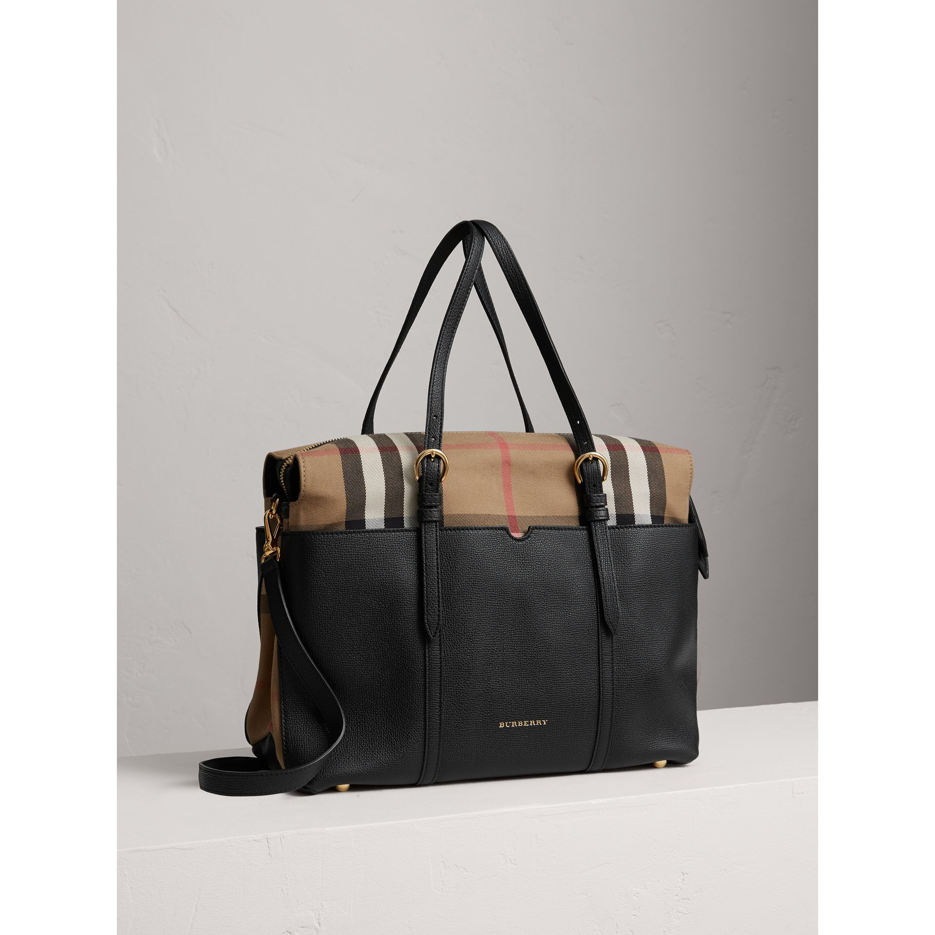 House Check and Leather Baby Changing Bag in Black | Burberry - gallery image 6