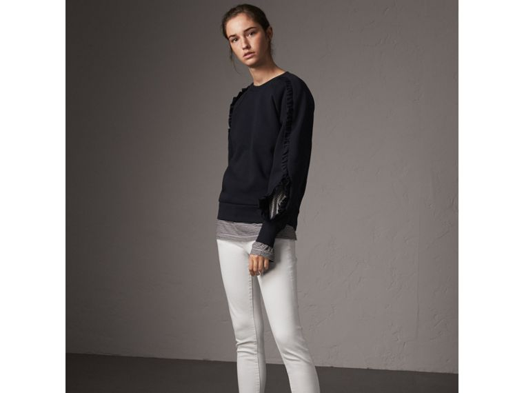 Ruffle-sleeve Sweatshirt in Navy - Women | Burberry - cell image 4
