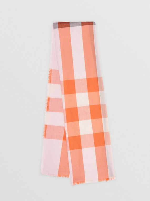 Fringed Check Cashmere Scarf in Pale Blossom