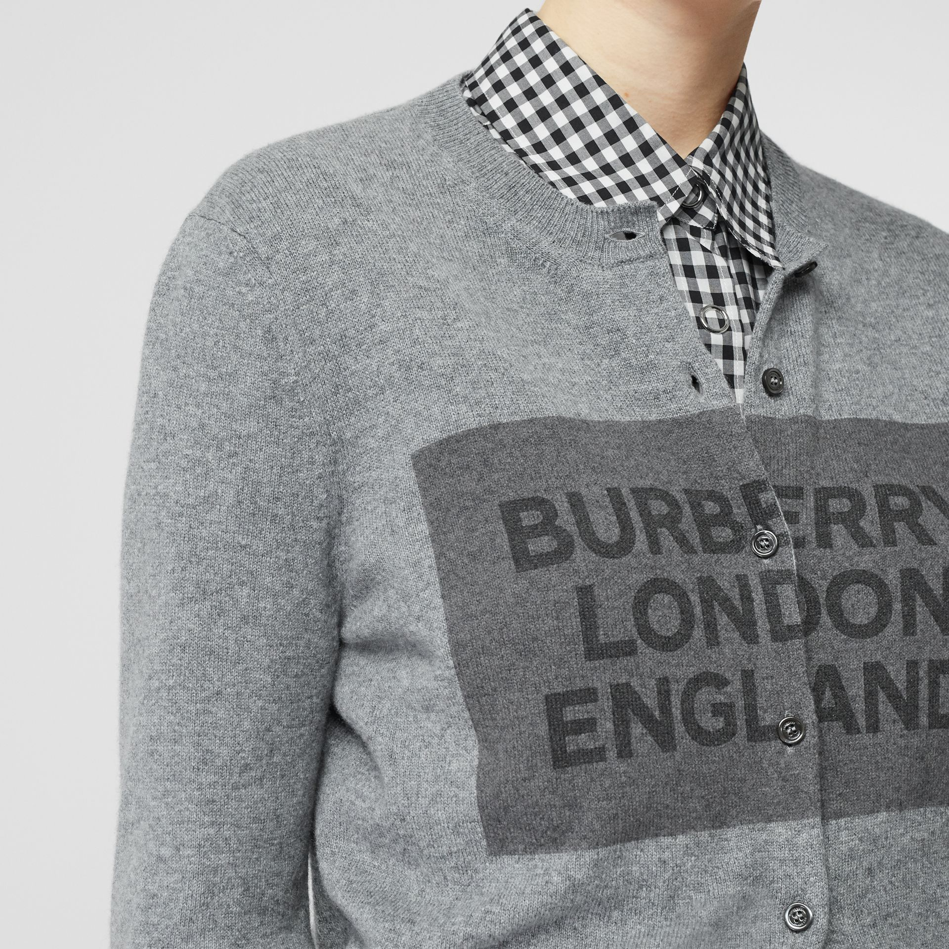 Logo Detail Cashmere Cardigan in Grey - Women | Burberry - gallery image 4