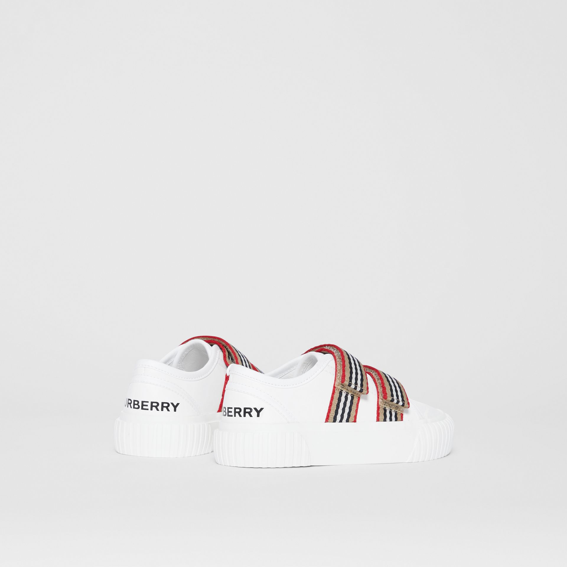 Icon Stripe Detail Leather Sneakers in White - Children | Burberry United Kingdom - gallery image 2