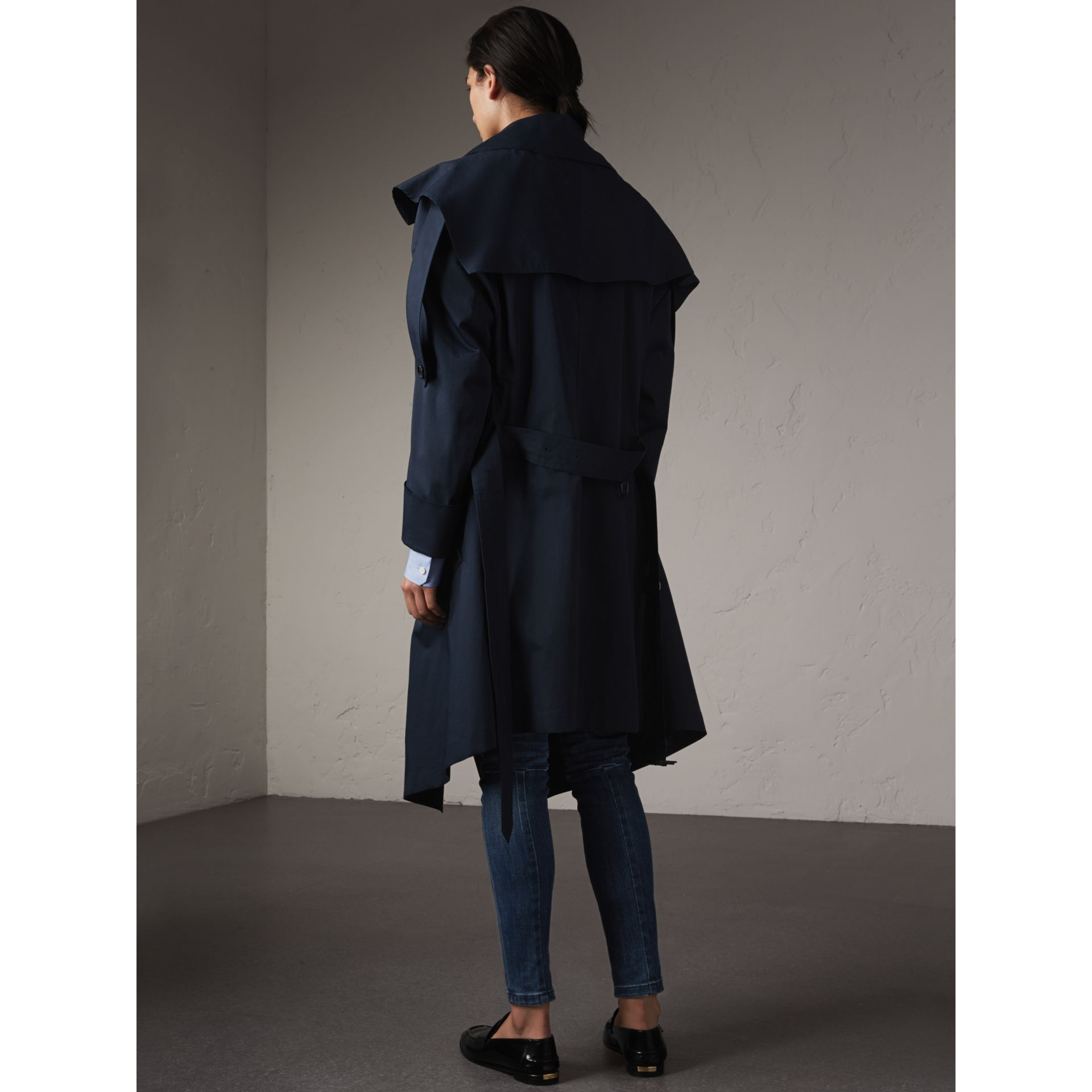 Cotton Asymmetric Trench Coat in Navy - Women | Burberry Australia - gallery image 3