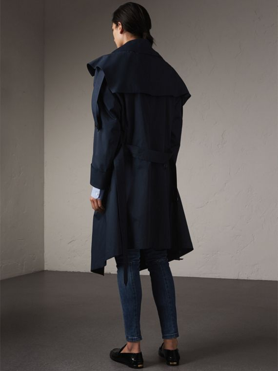 Cotton Asymmetric Trench Coat in Navy - Women | Burberry - cell image 2