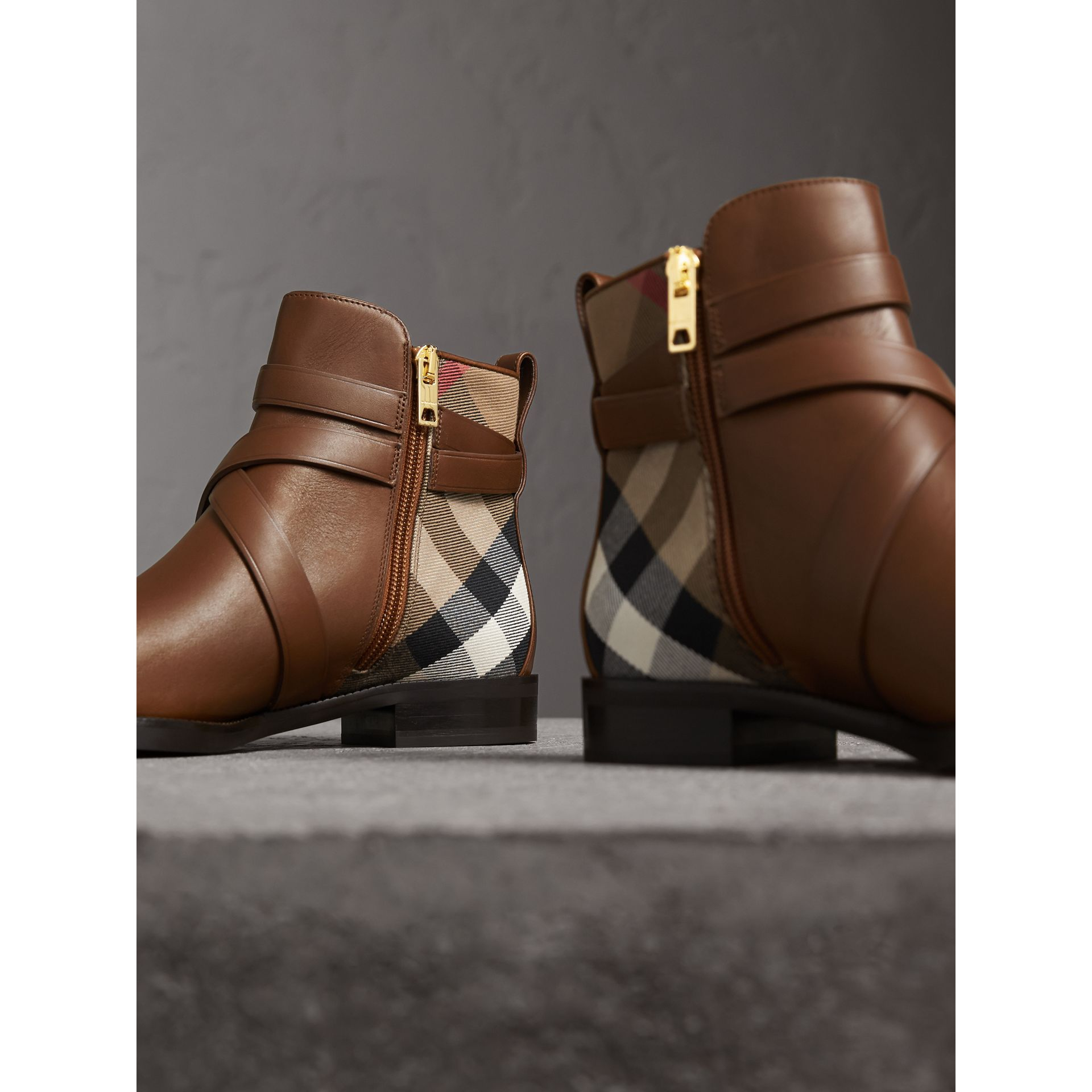 Strap Detail House Check and Leather Ankle Boots in Bright Camel - Women | Burberry - gallery image 4