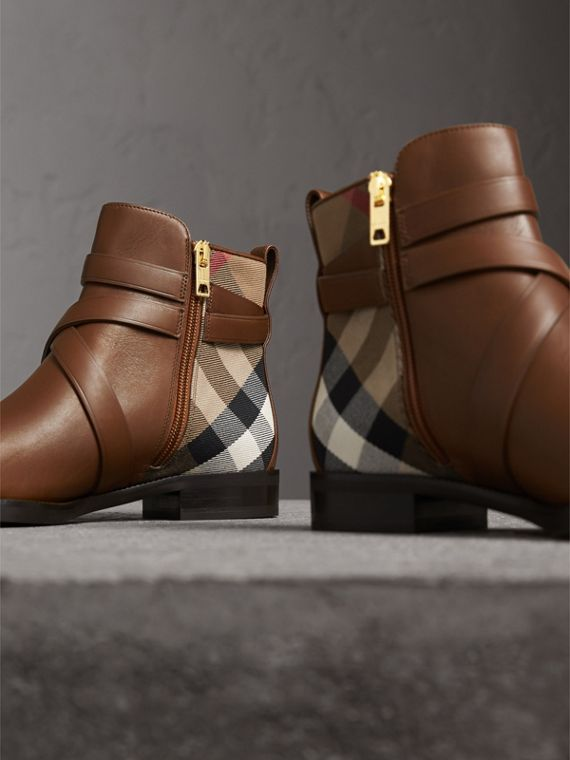 Strap Detail House Check and Leather Ankle Boots in Bright Camel - Women | Burberry - cell image 3