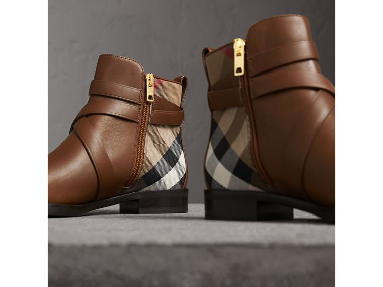 Strap Detail House Check and Leather Ankle Boots in Bright Camel - Women | Burberry Australia - cell image 4
