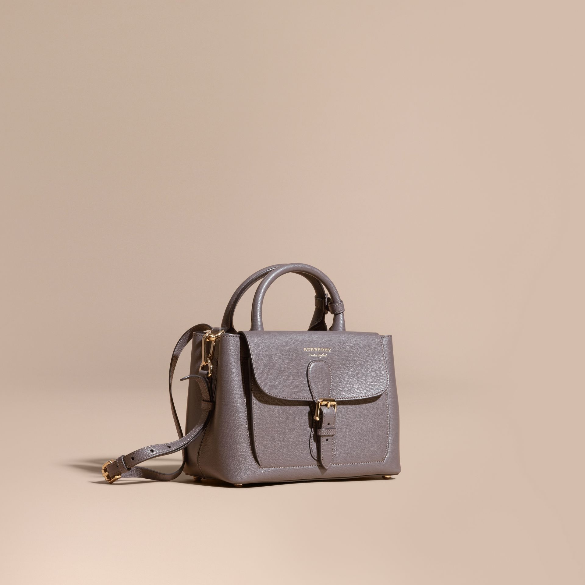 Sepia grey The Small Saddle Bag in Grainy Bonded Leather Sepia Grey - gallery image 1