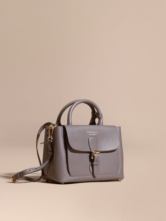 The Small Saddle Bag in Grainy Bonded Leather Sepia Grey