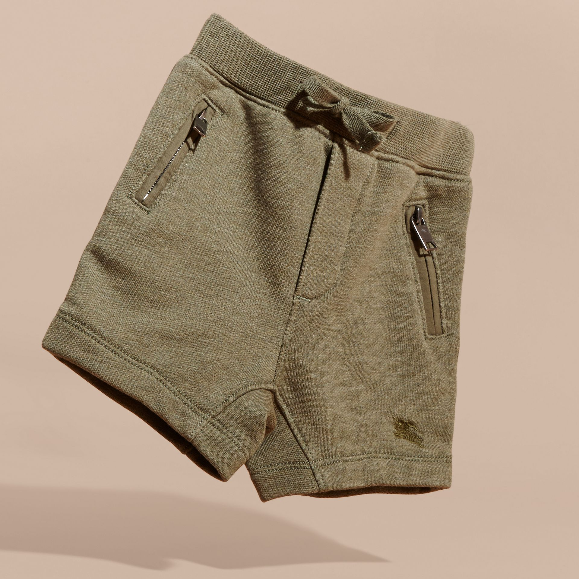Cotton Jersey Drawcord Shorts in Khaki Green Melange | Burberry - gallery image 3