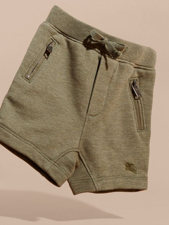 Cotton Jersey Drawcord Shorts in Khaki Green Melange | Burberry - cell image 2