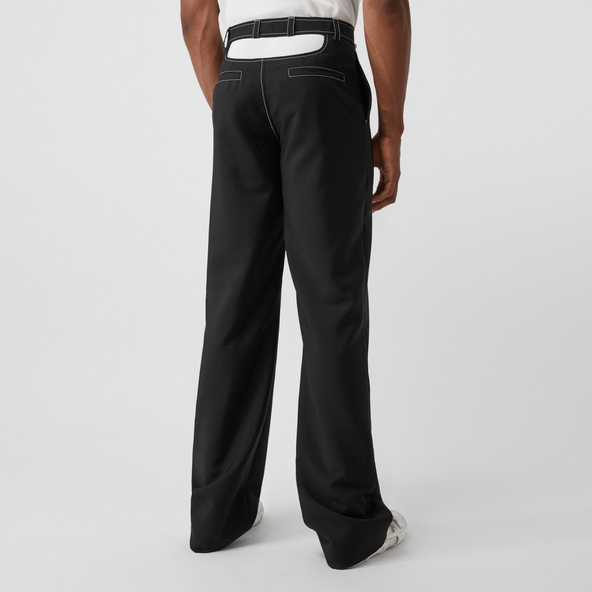 Cut-out Back Mohair Wool Wide-leg Trousers in Black - Men | Burberry - 3