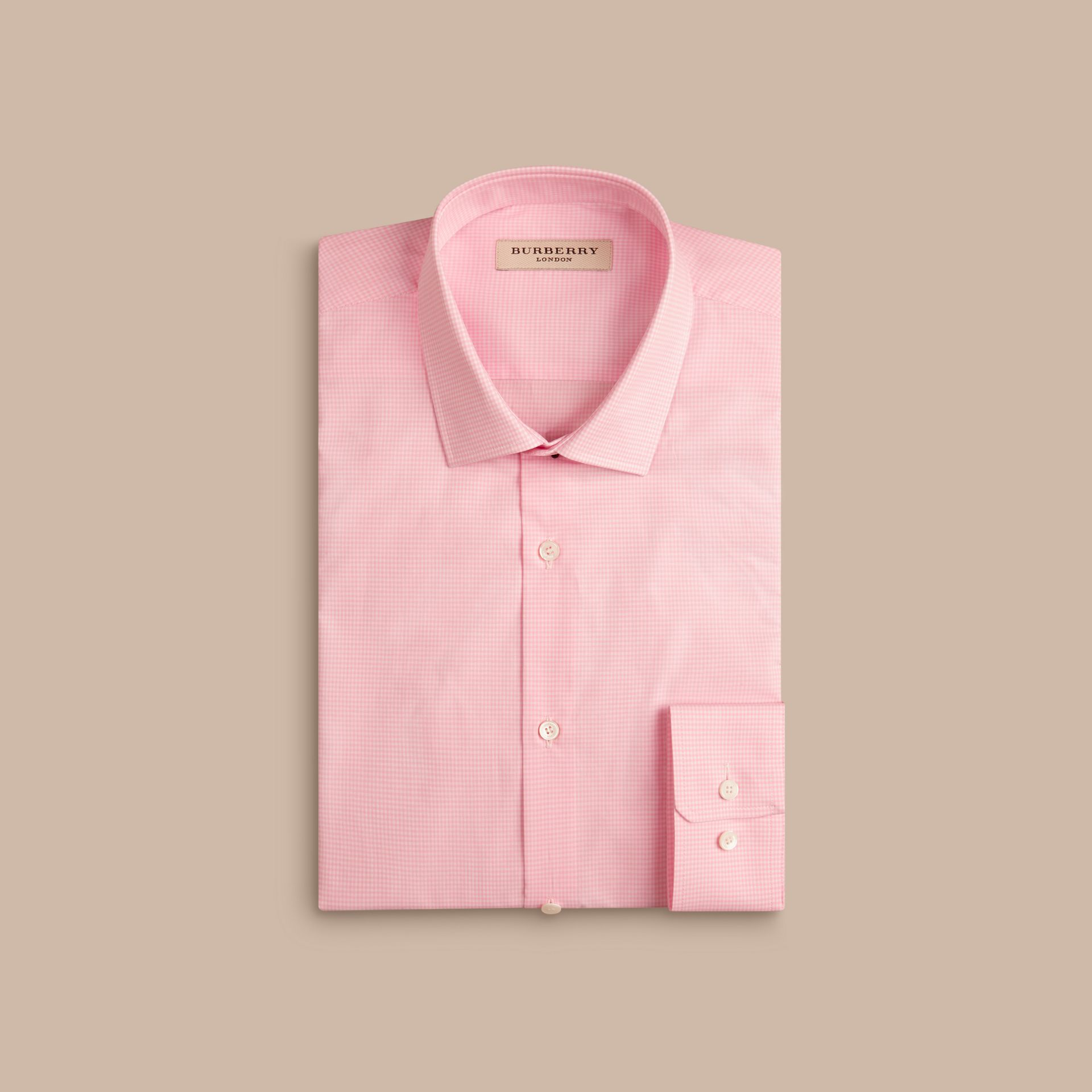 Slim Fit Gingham Cotton Poplin Shirt in City Pink - gallery image 4