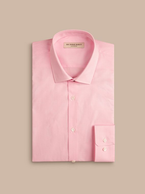 Slim Fit Gingham Cotton Poplin Shirt in City Pink - cell image 3