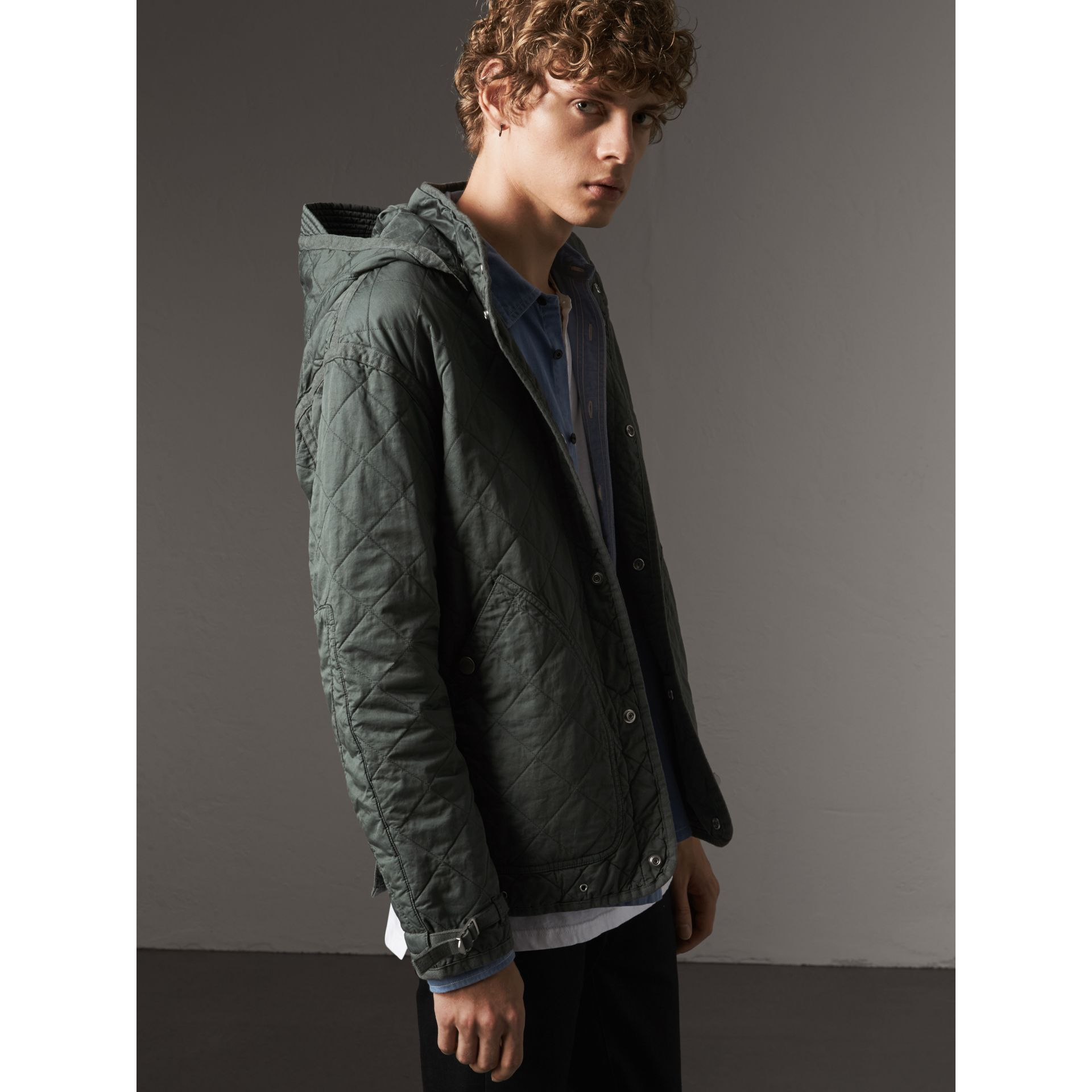 Detachable Hood Cotton Parka with Warmer in Smokey Green - Men | Burberry United Kingdom - gallery image 2