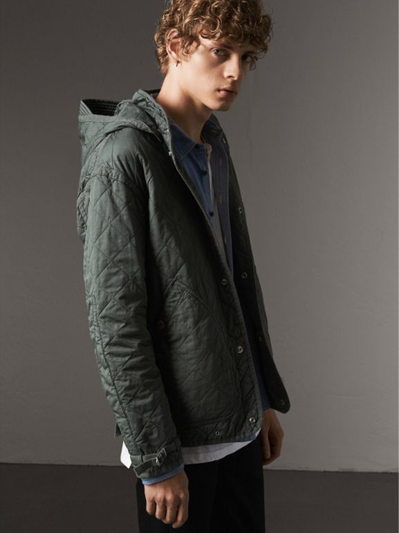 Detachable Hood Cotton Parka with Warmer in Smokey Green - Men | Burberry - cell image 1