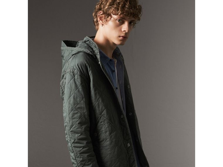 Detachable Hood Cotton Parka with Warmer in Smokey Green - Men | Burberry Canada - cell image 1