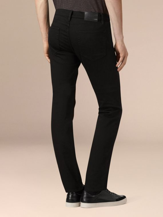 Black Straight Fit Stretch-denim Jeans - cell image 2
