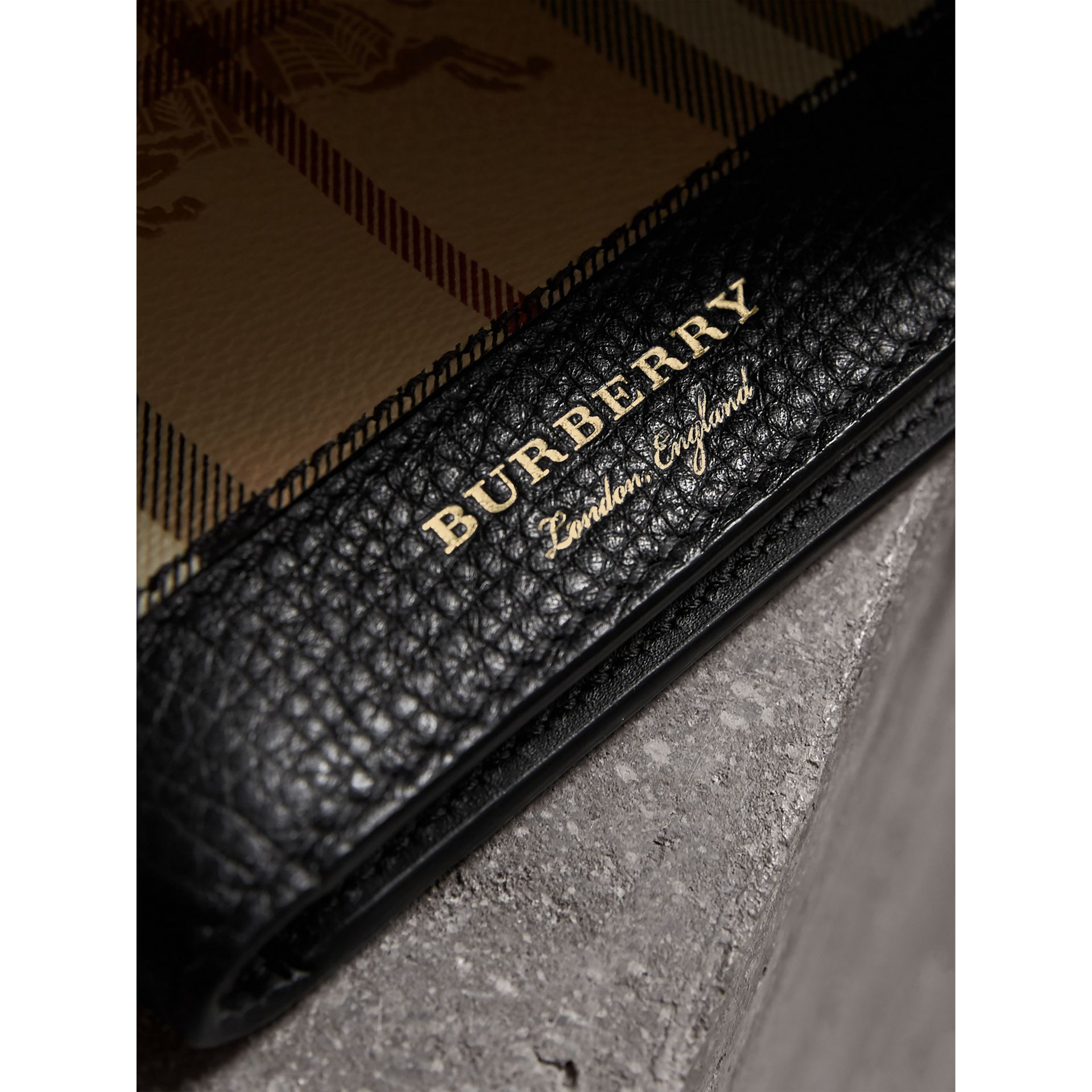 Haymarket Check and Leather International Bifold Wallet in Black - Men | Burberry Australia - gallery image 1