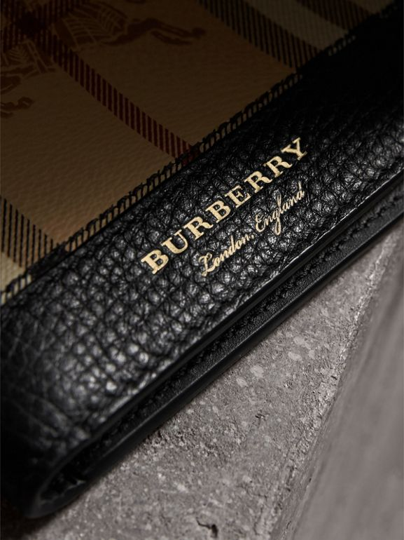 Haymarket Check and Leather International Bifold Wallet in Black - Men | Burberry Australia - cell image 1