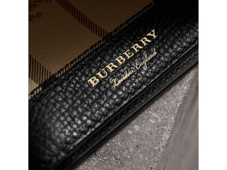 Haymarket Check and Leather International Bifold Wallet in Black - Men | Burberry Canada - cell image 1