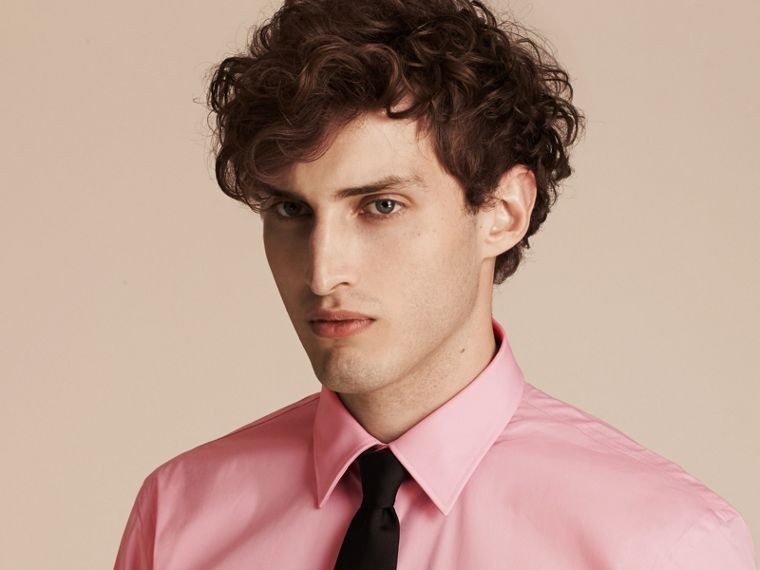 Modern Fit Stretch Cotton Shirt in City Pink - cell image 4