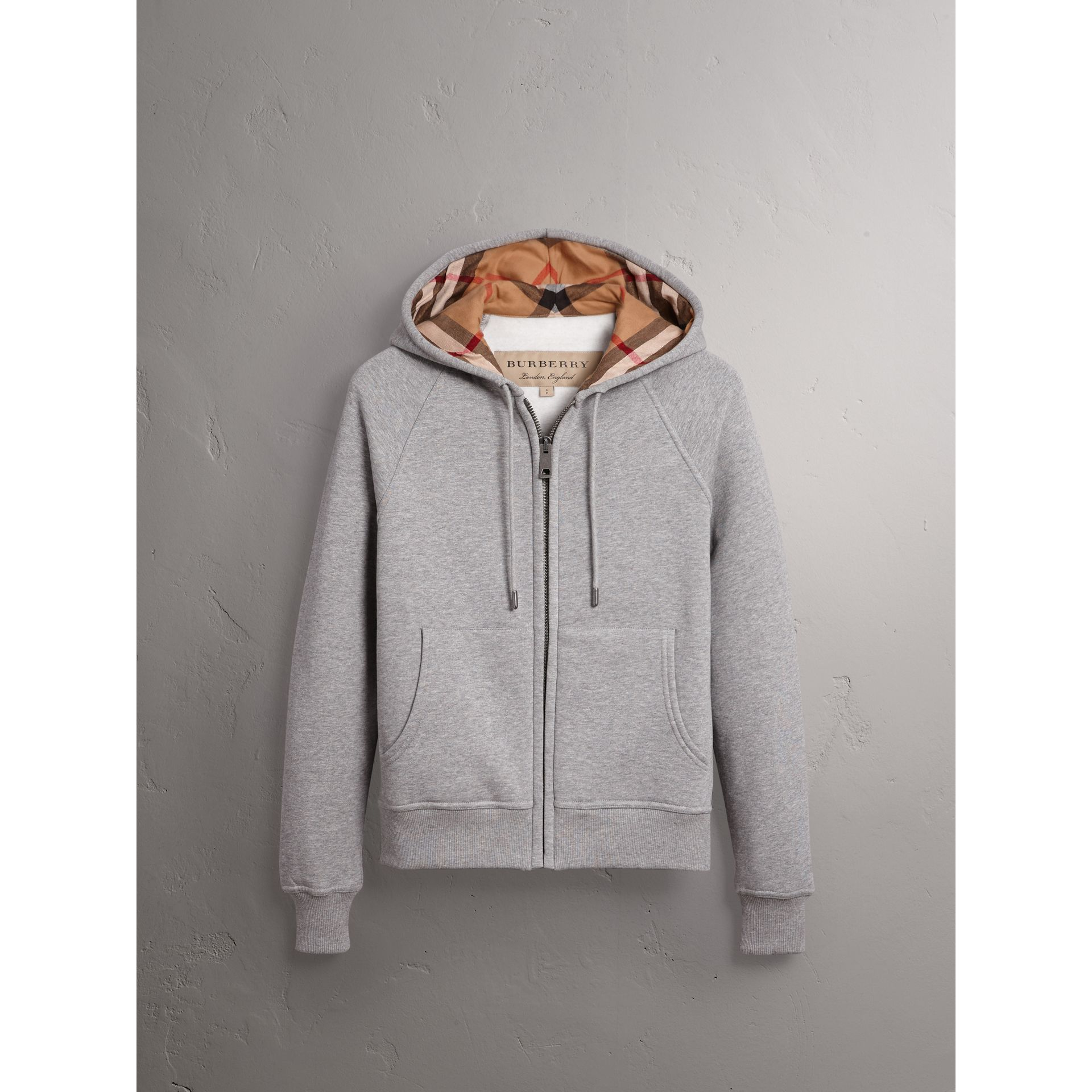 Hooded Zip-front Cotton Blend  Sweatshirt in Pale Grey Melange - Women | Burberry - gallery image 3