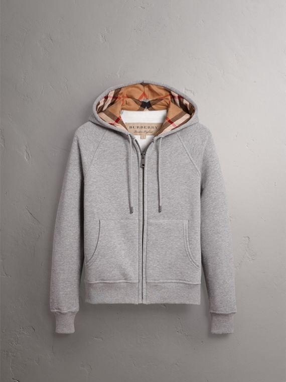 Hooded Zip-front Cotton Blend  Sweatshirt in Pale Grey Melange - Women | Burberry - cell image 3