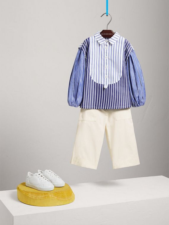 Contrasting Stripe Cotton Tunic Shirt in Indigo
