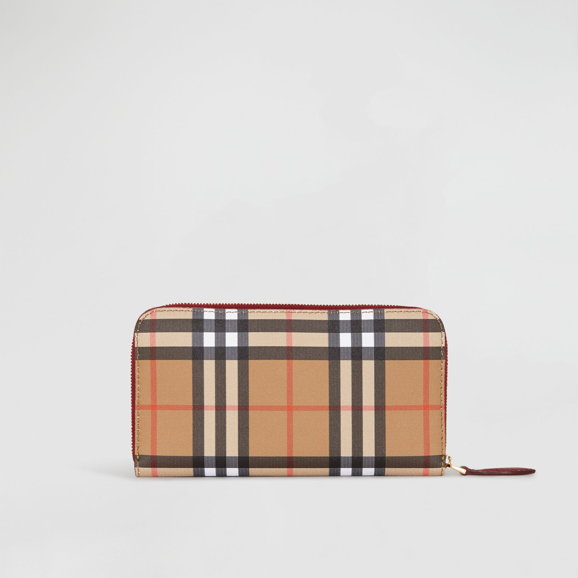 Vintage Check and Leather Ziparound Wallet in Crimson - Women | Burberry Hong Kong S.A.R - gallery image 5