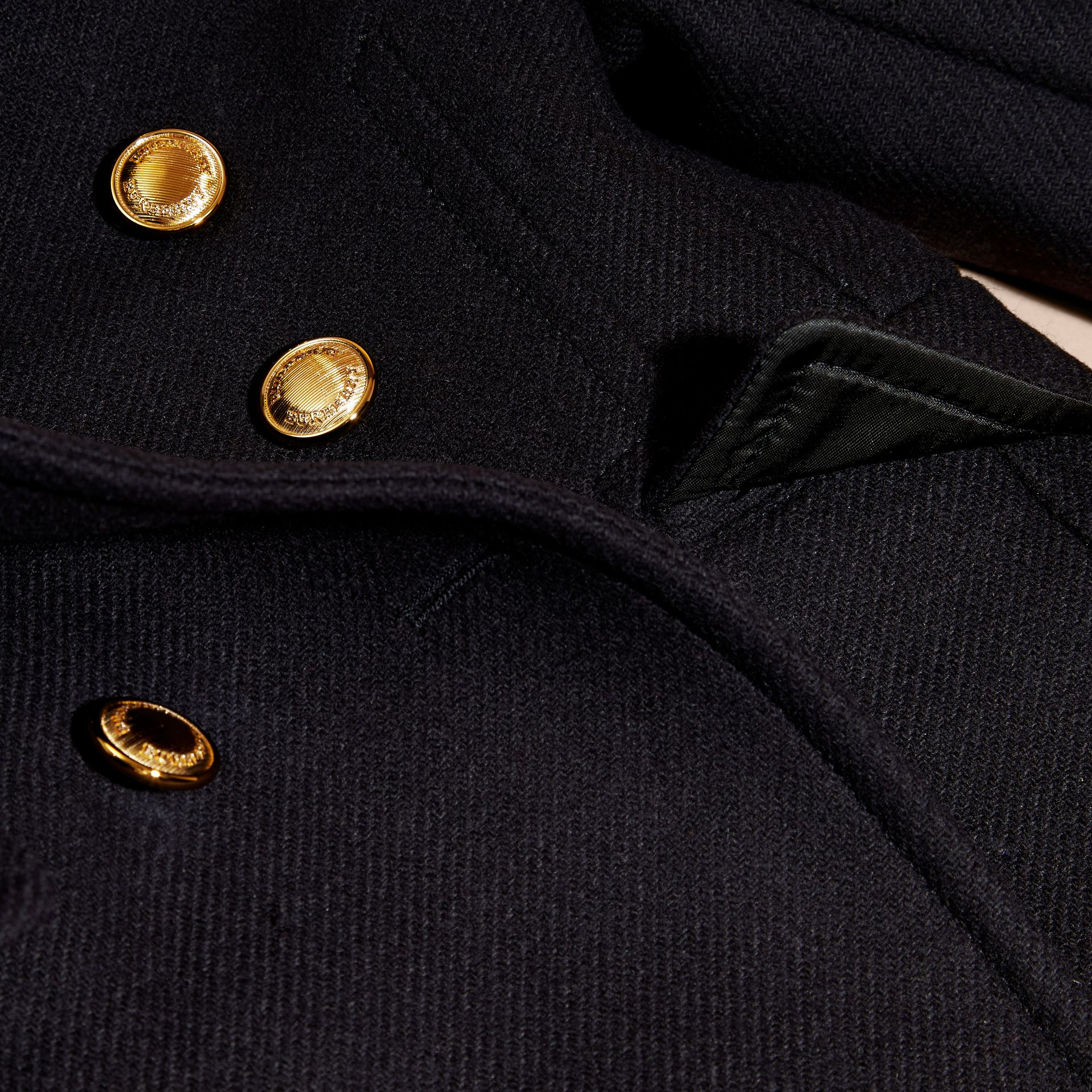 Navy Wool Cashmere Blend Tailored Coat with Domed Buttons - gallery image 2