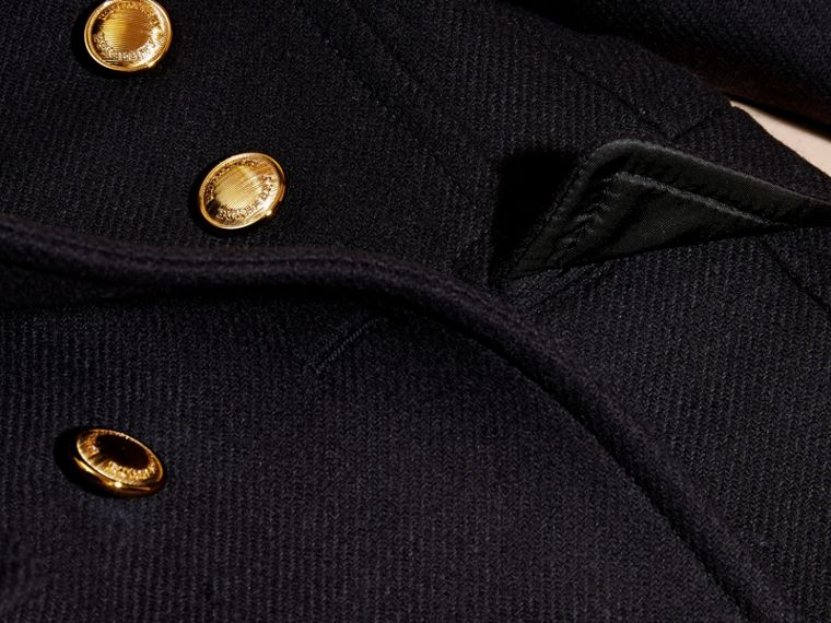 Navy Wool Cashmere Blend Tailored Coat with Domed Buttons - cell image 1