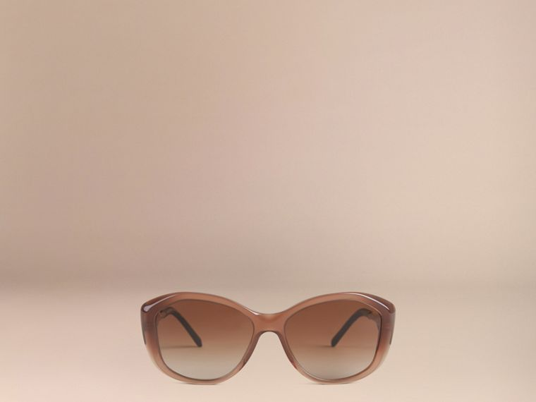 Gabardine Lace Collection Square Frame Sunglasses in Dark Amber - cell image 1